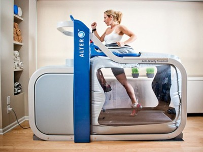 woman in training with alter g treadmill