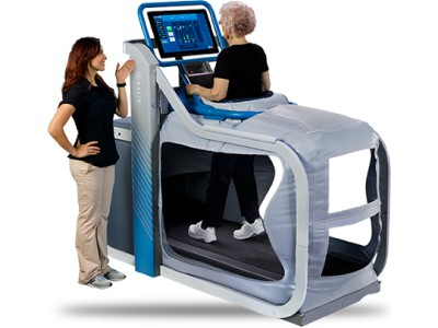 doctor and patient training alter g treadmill